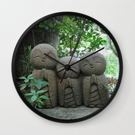 jizo in a peaceful garden Wall Clock