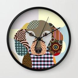 Dachshund Dog Pop Art Cubism Wall Clock