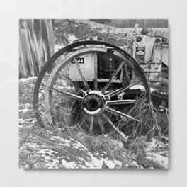 Wagon wheel and tractor Metal Print