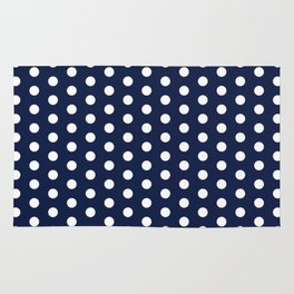 Indigo Navy Blue Polka Dot Rug
