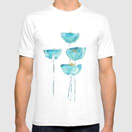 blue poppy watercolor T-shirt