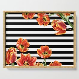 Red Orange Tulips Black Stripes Chic Serving Tray