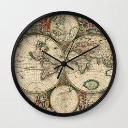 1689 Antique World Globe Map Wall Clock