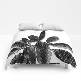 Black White Cactus #1 #plant #decor #art #society6 Comforters