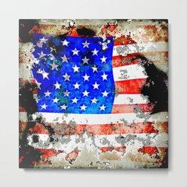 Extreme Grunge American Flag Metal Print