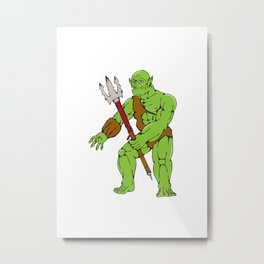 Orc Warrior Monster Trident Cartoon Metal Print