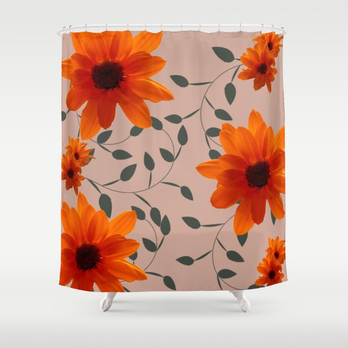 Orange Flowers And Vines Shower Curtain