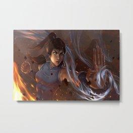 Korra The Legend of Korra water fire women artwork digital fantasy girl brunette yellow eyes fist warrior Metal Print