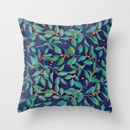 Leaves + Berries in Navy Blue, Teal & Tangerine Throw Pillow