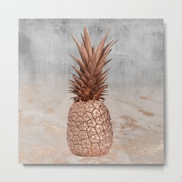 Pineapple in Glitter Marble Rose Gold And Concrete Metal Print