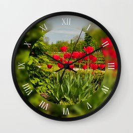 Ulmus or elm and red tulips Wall Clock