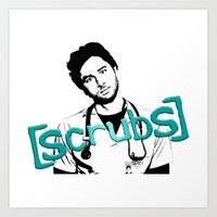 scrubs Art Prints featuring Scrubs JD by darkdrake