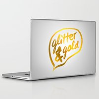 gold glitter Laptop & iPad Skins featuring Glitter and Gold by Berberism Lifestyle