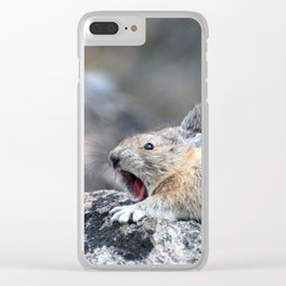 American Pika Yawning Clear iPhone Case