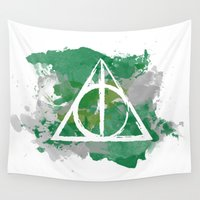 deathly hallows Wall Tapestries featuring The Deathly Hallows (Slytherin) by FictionTea