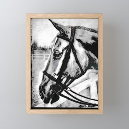 'Content' Original Equine Artwork, Horse Wall Art. EQUESTRIAN Decorating, Original Hand-Drawn Framed Mini Art Print