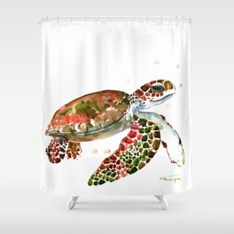 Sea Turtle, Brown, Olive green Pink Shades Shower Curtain