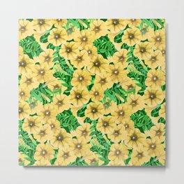 Yellow watercolor petunia flower pattern Metal Print