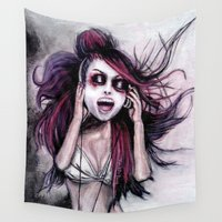 lolita Wall Tapestries featuring LISTEN TO MUSIC by Rouble Rust