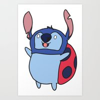 catbug Art Prints featuring Catbug / Stitch by Ilse S