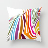 zebra Throw Pillows featuring Zebra by graphicinvasion