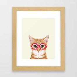 Ginger - Cute cat with glasses hipster cat art for dorm college decor funny cat lady meme Framed Art Print