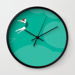 diver girl jumping into the clouds Wall Clock