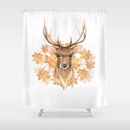 Watercolor Foliage Deer Shower Curtain