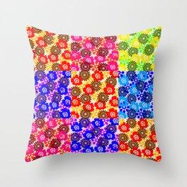 Hippie Floral Patchwork Throw Pillow