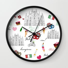 Milan, Italy seamless pattern with hand drawn sketch Wall Clock