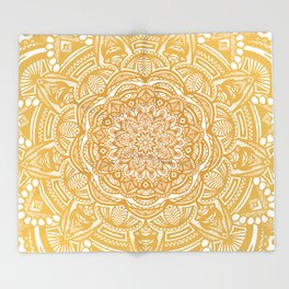 Golden Mustard Yellow Orange Ethnic Mandala Detailed Throw Blanket