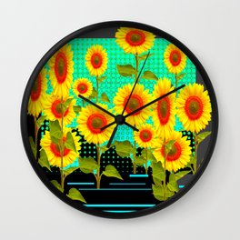 TURQUOISE RAIN SUNFLOWER FIELD GRAPHIC Wall Clock
