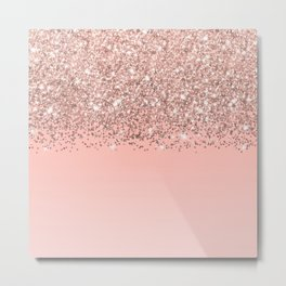Girly Rose Gold Confetti Pink Gradient Ombre Metal Print