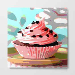 Chocolate Cupcakes with Pink Buttercream Metal Print