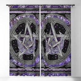 Pentagram Triskelion Amethyst Moon  Blackout Curtain