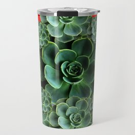 CHINESE  RED ART JADE GREEN SUCCULENTS Travel Mug