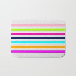 Modern neon colors geometrical whimsical stripes Bath Mat