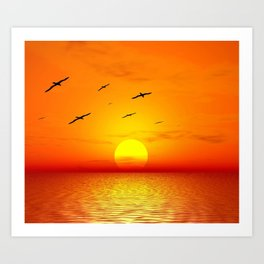 Beautiful sky on sunset or sunrise with flying birds to the sun, natural orange vivid sunset cloudscape sky background Art Print