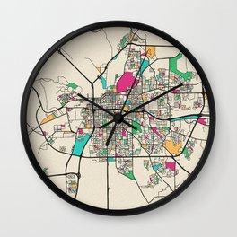 Colorful City Maps: Montgomery, Alabama Wall Clock