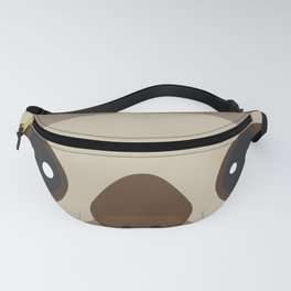 funny and cute smiling Three-toed sloth on brown background Fanny Pack