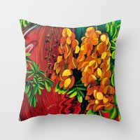 "cassia beck Throw Pillows featuring ""Cassia"", Fine Art Print, Oil painting, flowers painting, yellow, floral wall decor, flowers art by Adriana Calcines"
