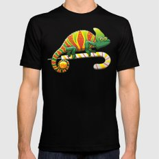 Christmas Chameleon Mens Fitted Tee MEDIUM Black