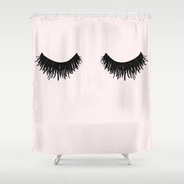 Eyelashes on Pink Lashes Art Shower Curtain