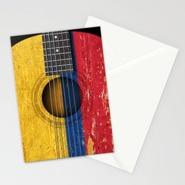 Old Vintage Acoustic Guitar with Colombian Flag Stationery Cards