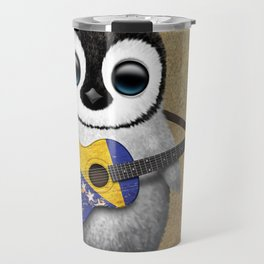 Baby Penguin Playing Bosnian Flag Acoustic Guitar Travel Mug