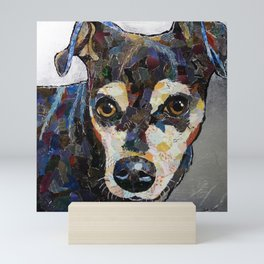 Dog with silver background Mini Art Print