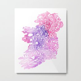Typographic Ireland - Pink Watercolor map Metal Print
