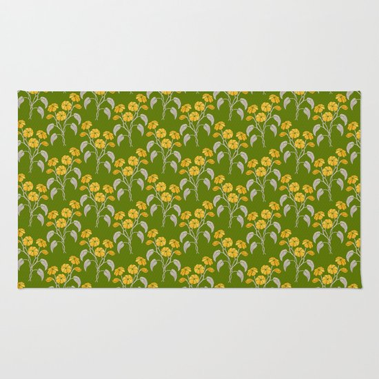 Flowers Green Pattern Rug