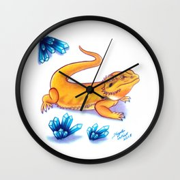 Bearded Dragon - Blue Crystals Wall Clock