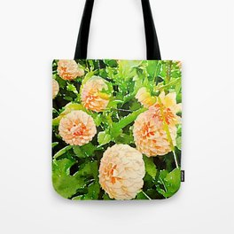 Peaches and Cream Dahlias Tote Bag